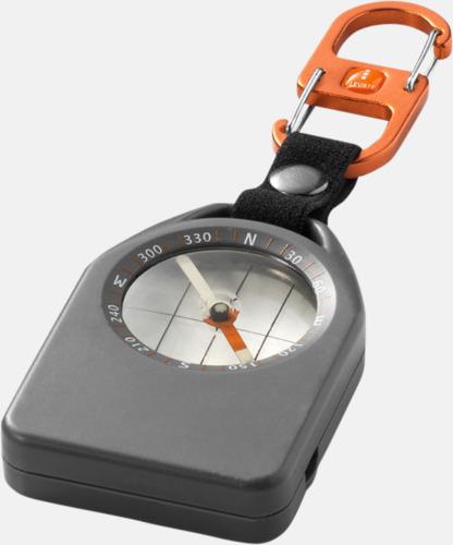 Grå/Svart/Orange Kompass med visselpipa & termometer med reklamtryck