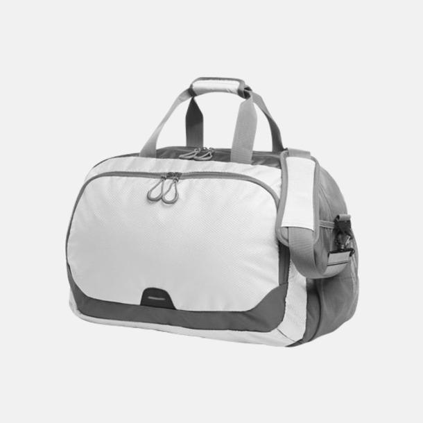 Vit Medelstor sport- & resväska med reklamtryck