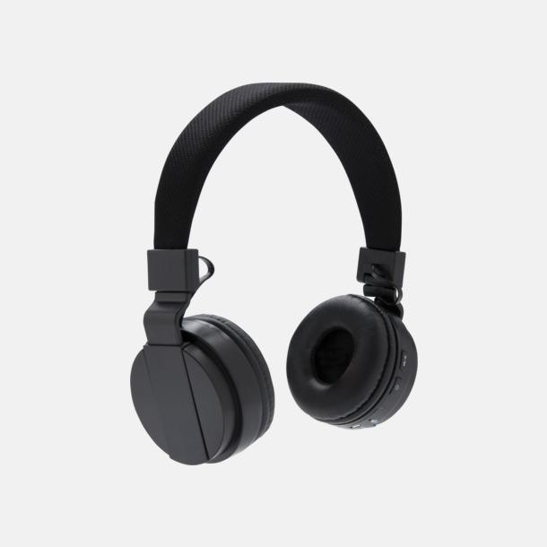 Svart Ihopvikbara hörlurar med reklamtryck