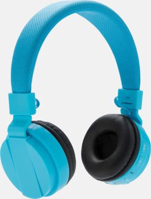 Blå Ihopvikbara hörlurar med reklamtryck