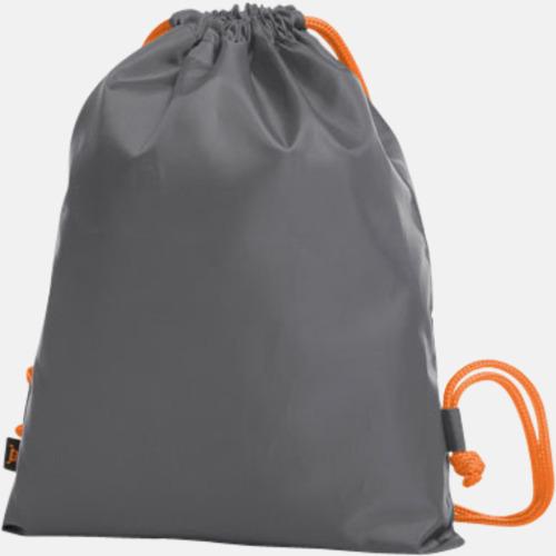 Grå / Orange Färgkombinerade gympapåsar med reklamtryck