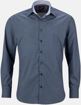Marinblå/Vit (herr) Rutiga skjortor med reklamtryck
