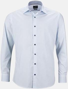 Vit/Ljusblå (herr) Rutiga skjortor med reklamtryck