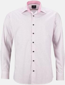 Vit/Röd (herr) Rutiga skjortor med reklamtryck