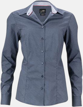Marinblå/Vit (dam) Rutiga skjortor med reklamtryck