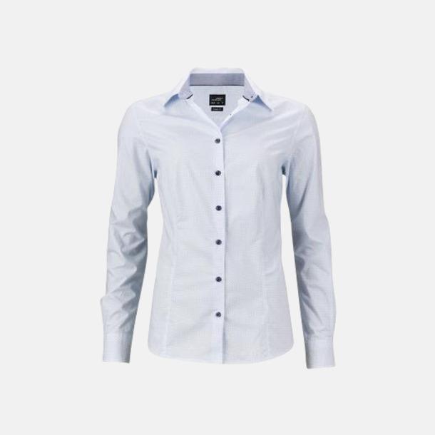 Vit/Ljusblå (dam) Rutiga skjortor med reklamtryck