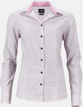 Vit/Röd (dam) Rutiga skjortor med reklamtryck