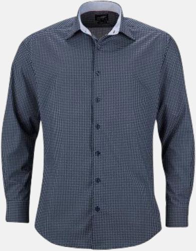Marinblå/Vit (herr) Prickiga skjortor & blusar med reklamtryck
