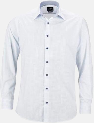 Vit/Ljusblå (herr) Prickiga skjortor & blusar med reklamtryck