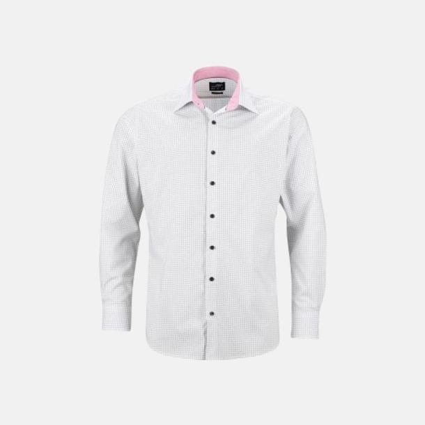 Vit/Titan (herr) Prickiga skjortor & blusar med reklamtryck