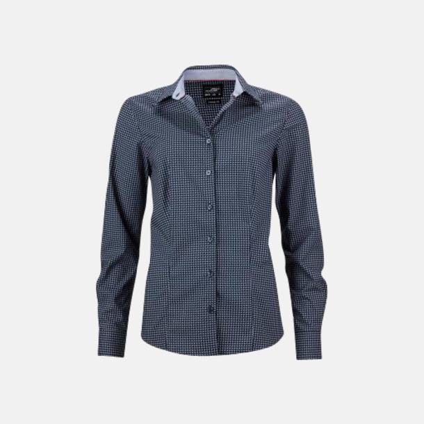 Marinblå/Vit (dam) Prickiga skjortor & blusar med reklamtryck