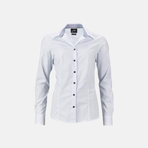 Vit/Ljusblå (dam) Prickiga skjortor & blusar med reklamtryck