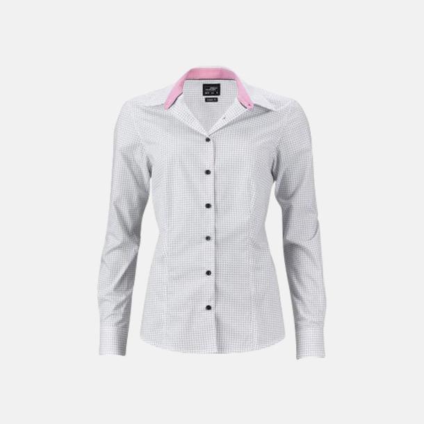 Vit/Titan (dam) Prickiga skjortor & blusar med reklamtryck