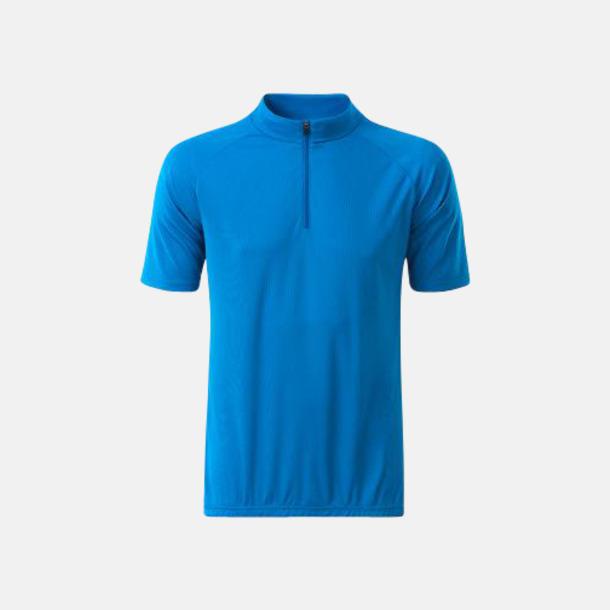 Bright Blue (herr) Enfärgade cykeltröjor med reklamtryck