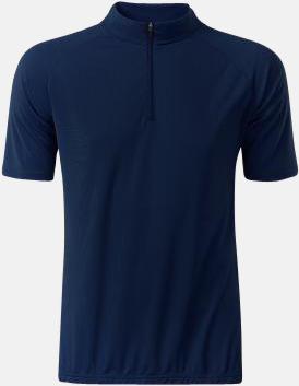 Marinblå (herr) Enfärgade cykeltröjor med reklamtryck