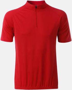 Röd (herr) Enfärgade cykeltröjor med reklamtryck