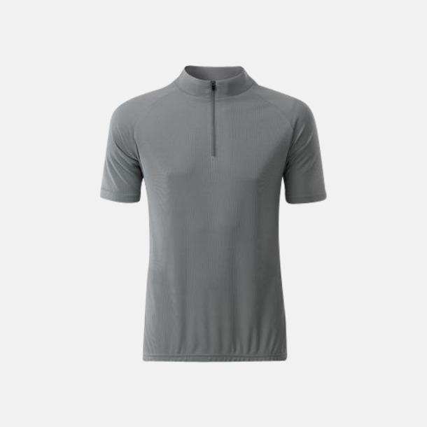 Silver (herr) Enfärgade cykeltröjor med reklamtryck