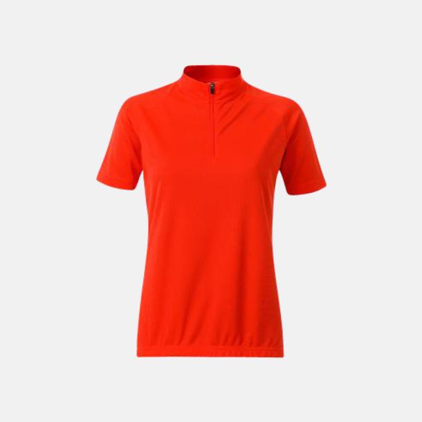 Bright Orange (dam) Enfärgade cykeltröjor med reklamtryck