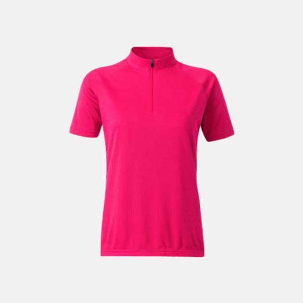 Bright Pink (dam) Enfärgade cykeltröjor med reklamtryck