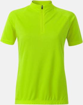 Bright Yellow (dam) Enfärgade cykeltröjor med reklamtryck
