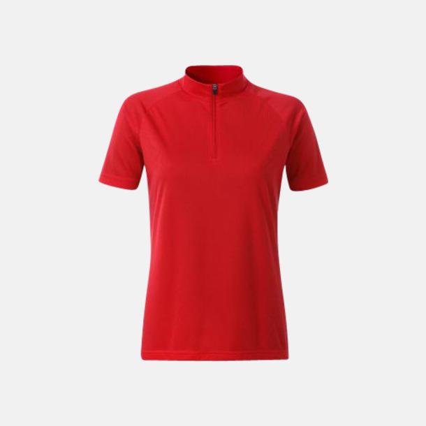 Röd (dam) Enfärgade cykeltröjor med reklamtryck