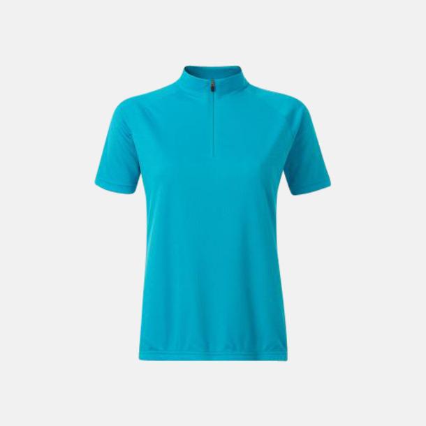 Turkos (dam) Enfärgade cykeltröjor med reklamtryck