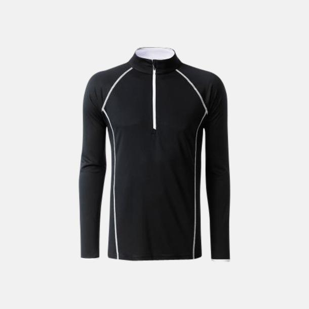 Svart/Vit (herr) Långärmade löpartröjor med reklamtryck