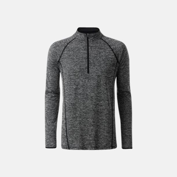 Black Melange/Svart (herr) Långärmade löpartröjor med reklamtryck