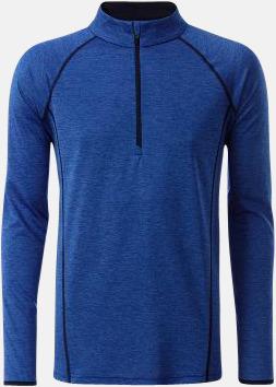 Blue Melange/Marinblå (herr) Långärmade löpartröjor med reklamtryck