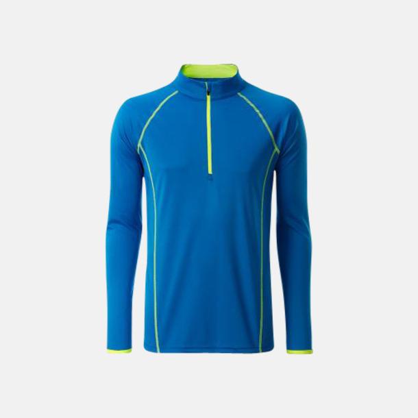 Bright Blue/Bright Yellow (herr) Långärmade löpartröjor med reklamtryck