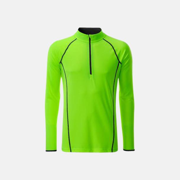 Bright Green/Svart (herr) Långärmade löpartröjor med reklamtryck