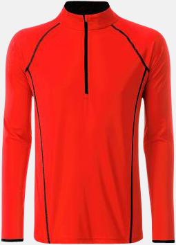 Bright Orange/Svart (herr) Långärmade löpartröjor med reklamtryck
