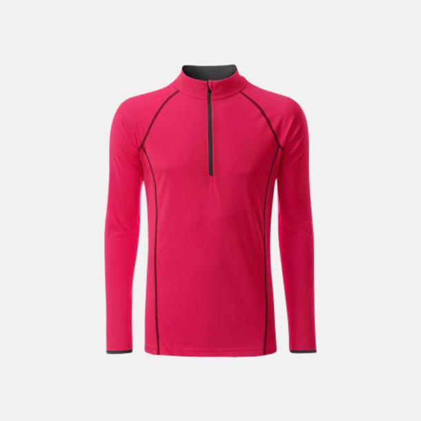 Bright Pink/Titan (herr) Långärmade löpartröjor med reklamtryck