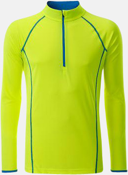 Bright Yellow/Bright Blue (herr) Långärmade löpartröjor med reklamtryck