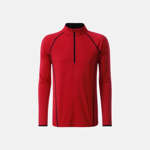 Röd/Svart (herr) Långärmade löpartröjor med reklamtryck