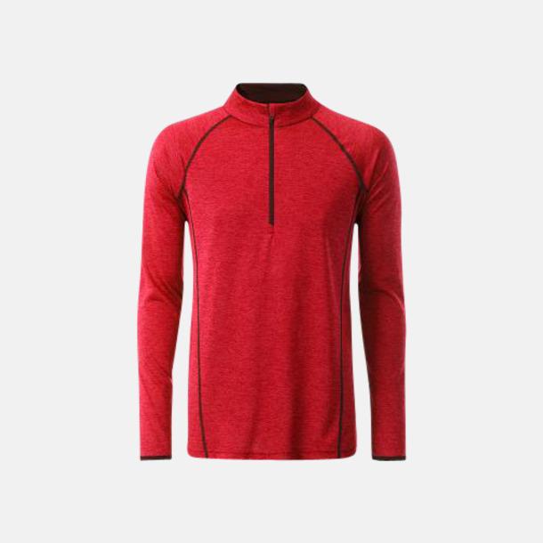 Red Melange/Titan (herr) Långärmade löpartröjor med reklamtryck