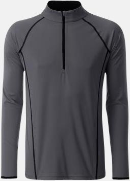 Titanium/Svart (herr) Långärmade löpartröjor med reklamtryck