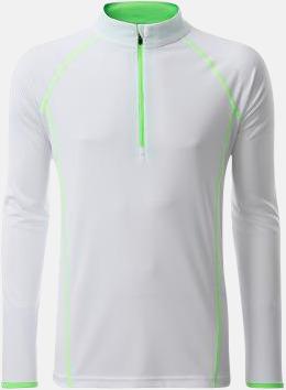 Vit/Bright Green (herr) Långärmade löpartröjor med reklamtryck