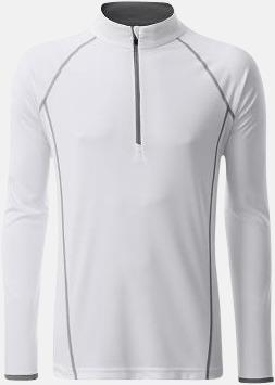 Vit/Silver (herr) Långärmade löpartröjor med reklamtryck