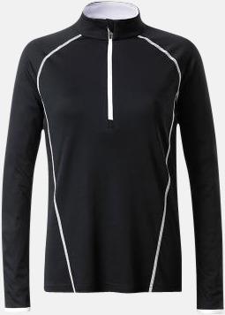 Svart/Vit (dam) Långärmade löpartröjor med reklamtryck