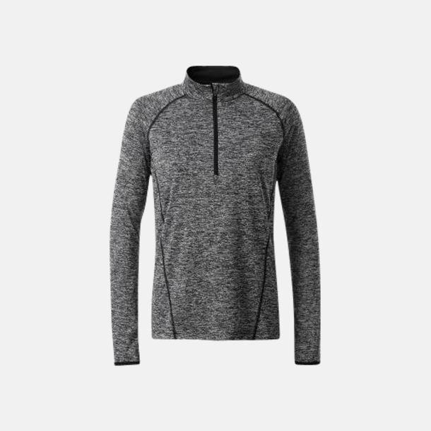 Black Melange/Svart (dam) Långärmade löpartröjor med reklamtryck