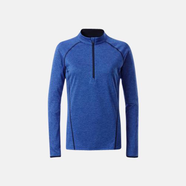 Blue Melange/Marinblå (dam) Långärmade löpartröjor med reklamtryck