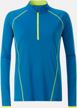 Bright Blue/Bright Yellow (dam) Långärmade löpartröjor med reklamtryck
