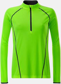 Bright Green/Svart (dam) Långärmade löpartröjor med reklamtryck