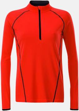 Bright Orange/Svart (dam) Långärmade löpartröjor med reklamtryck