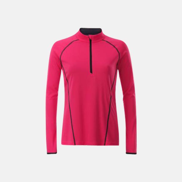 Bright Pink/Titan (dam) Långärmade löpartröjor med reklamtryck