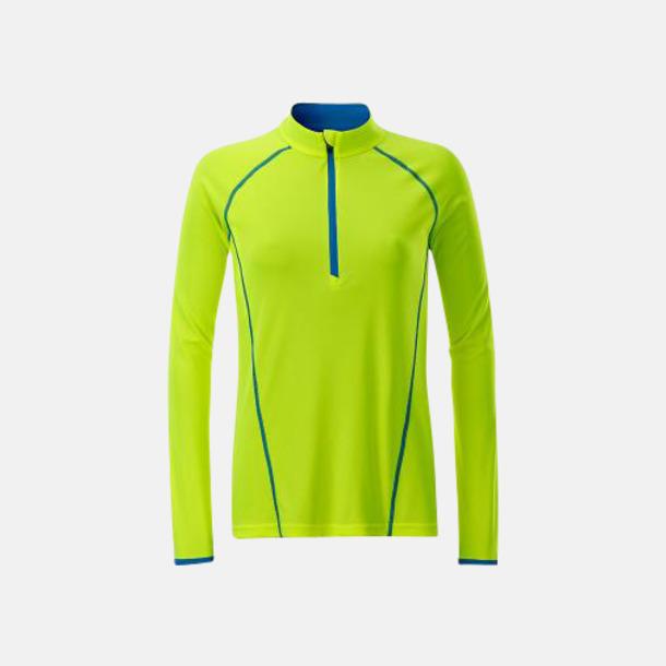 Bright Yellow/Bright Blue (dam) Långärmade löpartröjor med reklamtryck