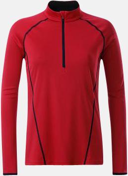 Red/Svart (dam) Långärmade löpartröjor med reklamtryck
