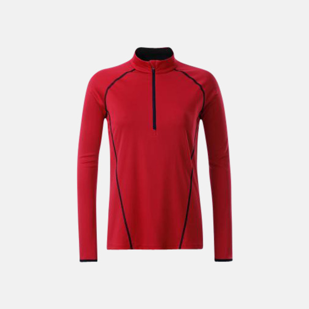 Röd/Svart (dam) Långärmade löpartröjor med reklamtryck