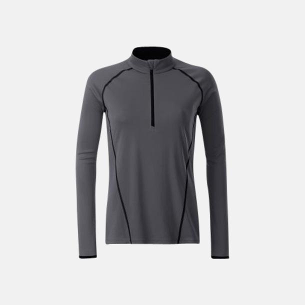 Titanium/Svart (dam) Långärmade löpartröjor med reklamtryck